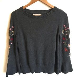Loft gray floral embroidered sweater